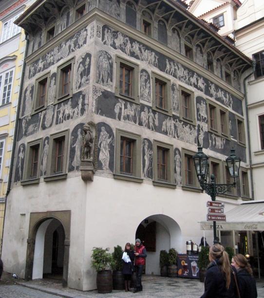 «Дом у Минуты» (Староместская площадь, 2), где Кафка жил в 1889-1896 г.г.